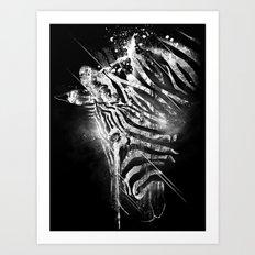Zebra Mood - White Art Print