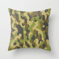military Throw Pillows featuring Military Pattern by Crazy Thoom