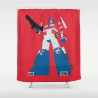 optimus prime Shower Curtains featuring Transformers G1 - Optimus Prime by TracingHorses
