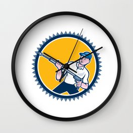 Pressure Washer Water Blaster Rosette Cartoon Wall Clock