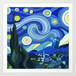 Tardis Art Starry Night Art Print