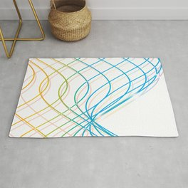 YELLOW AND BLUE WAVY LINES Abstract Art Rug
