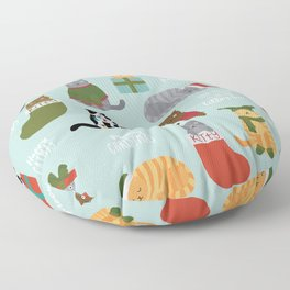 Naughty Christmas Cats with Words Floor Pillow