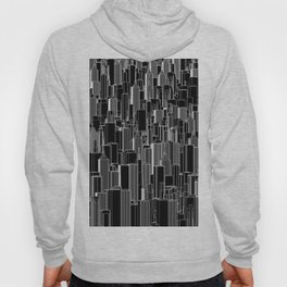 Tall city B&W inverted / Lineart city pattern Hoody
