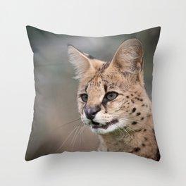 Serval Cat Throw Pillow