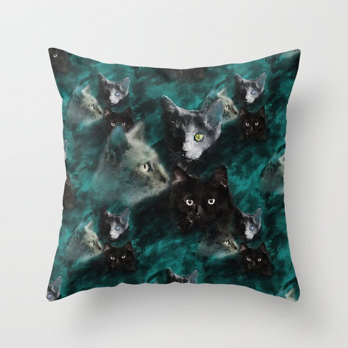 Kittecat Throw Pillow