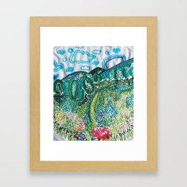 cheerful handmade embroidery in the digital world Framed Art Print