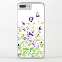 purple wishbone flowers watercolor painting Clear iPhone Case