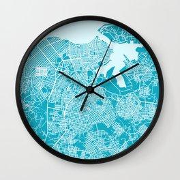 LA HABANA Map Cuba | Aqua | More Colors, Review My Collections Wall Clock