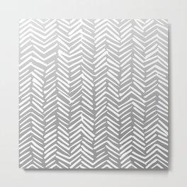 Geometric Art, Herringbone, Mudcloth, Gray and White, Boho Art Metal Print