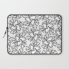 Hand painted black white abstract leaves floral Laptop Sleeve