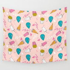 Alien outer space cute aliens french fries rad sodas pattern print pink Wall Tapestry