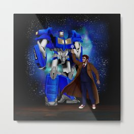 10th Doctor who with Giant retro Robot Phone Box Metal Print