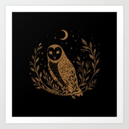 Owl Moon - Gold Art Print