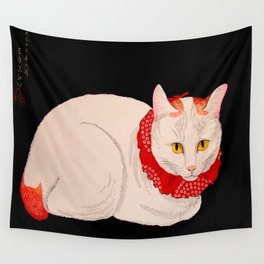 Shotei Takahashi White Cat In Red Outfit Black Background Vintage Japanese Woodblock Print Wall Tapestry