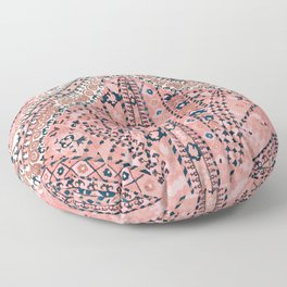 Light Pink Wildflower Sunshine III // 18th Century Colorful Pinkish Dusty Blue Gray Positive Pattern Floor Pillow