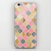 bedding iPhone & iPod Skins featuring Silver Grey, Soft Pink, Wood & Gold Moroccan Pattern by micklyn