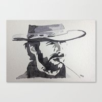 clint eastwood Canvas Prints featuring Clint Eastwood by sohsacaro