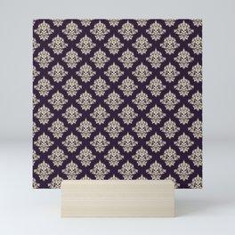 Purple Vintage Skull Pattern Mini Art Print