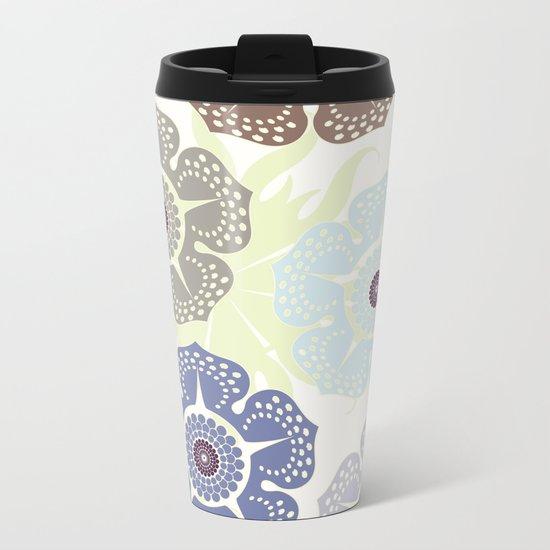 Flowers Pattern Metal Travel Mug