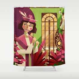 Woman with a parasol Shower Curtain