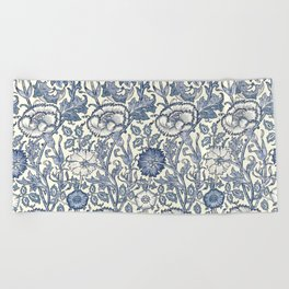 William Morris Navy Blue Botanical Pattern 6 Beach Towel