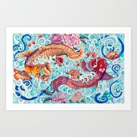 koi fish Art Prints featuring Koi Fish by Art by Risa Oram