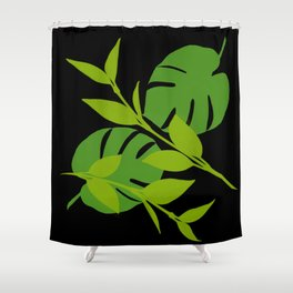 Simply Tropical Leaves with Black Background Shower Curtain