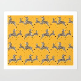 Royal Tenenbaums Zebra Wallpaper - Mustard Yellow Art Print