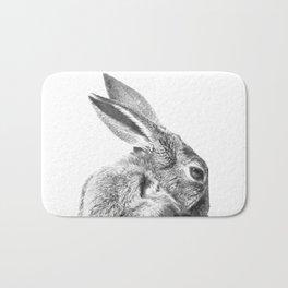 Black and white rabbit Bath Mat