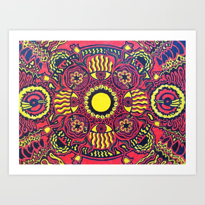 Tribal Gathering Mandala Art Print