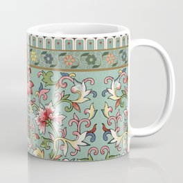 Asian Floral Pattern in Turquoise Blue Antique Illustration Coffee Mug