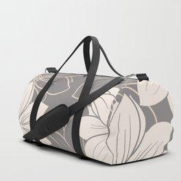 Pink and grey autumn dahlia flowers Duffle Bag