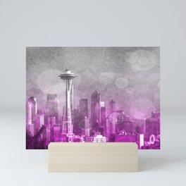 Pink and Grey Bokeh Seattle Skyline Mini Art Print