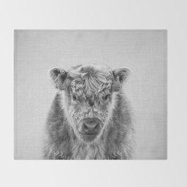 Fluffy Cow - Black & White Throw Blanket