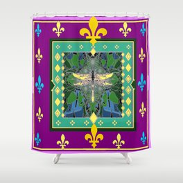 Yellow Dragonfly Purple Fleur de Lys Abstract Shower Curtain