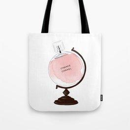 Red Perfume Globus Tote Bag
