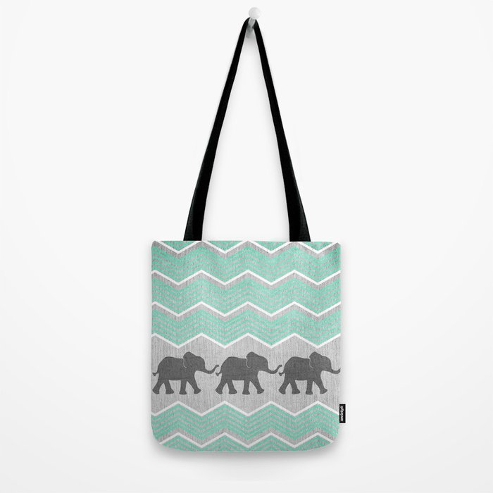 Three Elephants - Teal and White Chevron on Grey Tote Bag