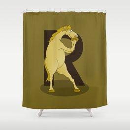 Monogram R Pony Shower Curtain