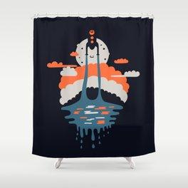 Happy Rocketship Shower Curtain