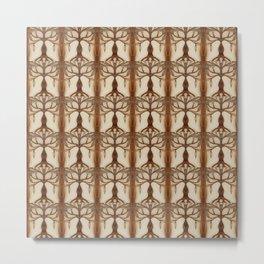 Hnědobéžový strom v mozaice Metal Print
