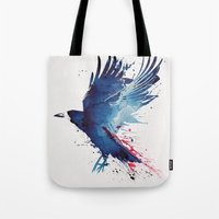 creepy Tote Bags featuring Bloody Crow by Robert Farkas