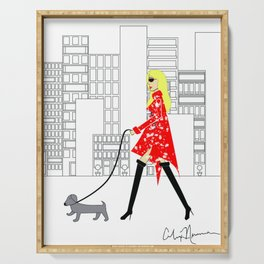 Red Jacket & the City Fashion Illustration Serving Tray