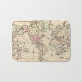 Vintage Map of The World (1884) 2 Bath Mat