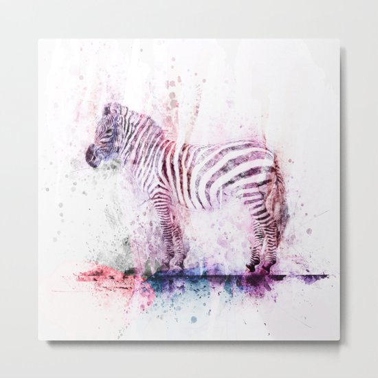 Watercolor Wash Zebra Metal Print