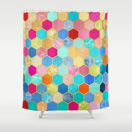 Patterned Honeycomb Patchwork in Jewel Colors Shower Curtain
