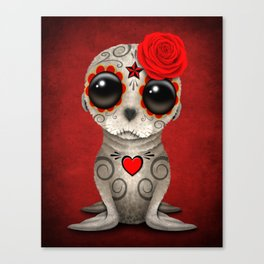Red Day of the Dead Sugar Skull Sea Lion Baby Canvas Print