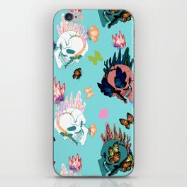 Skulls and Butterflies Colored Pattern iPhone Skin