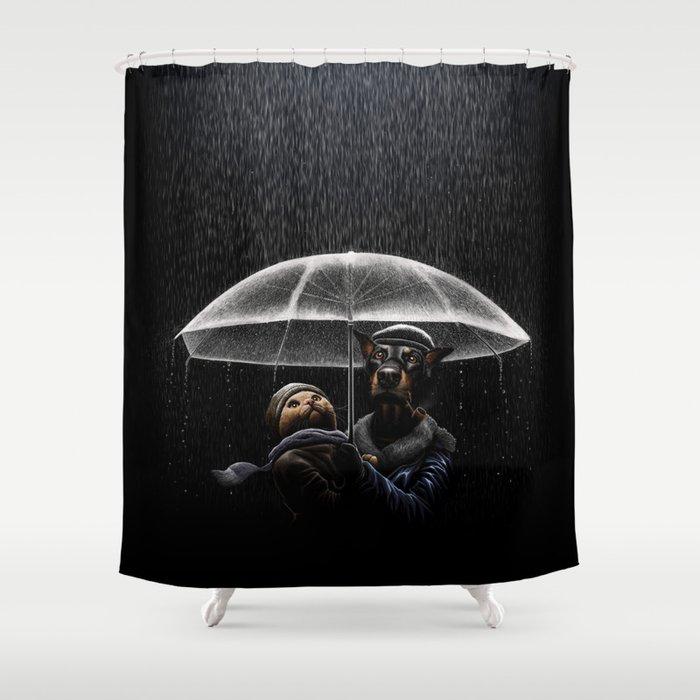 Cat Dog Shower Curtain By Tummaw