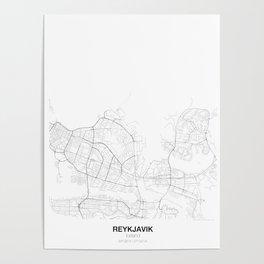 Reykjavik, Iceland Minimalist Map Poster
